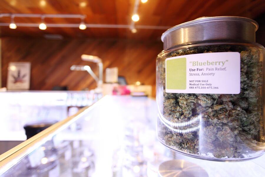 Jar of Marijuana on counter top